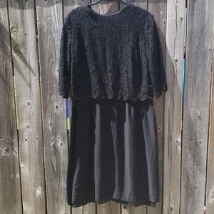 Black Formal Dress with Lace and Satin Details